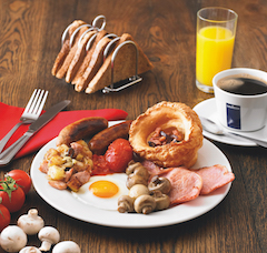 Breakfast menu at the Doncaster Toby Carvery