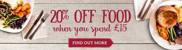 20% off food when you spend £15 - Find out more
