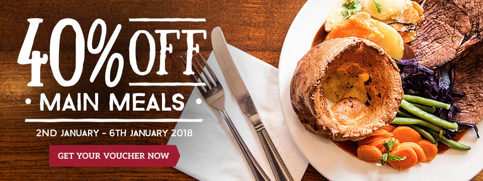 Sign up for 40% off at Toby Carvery!